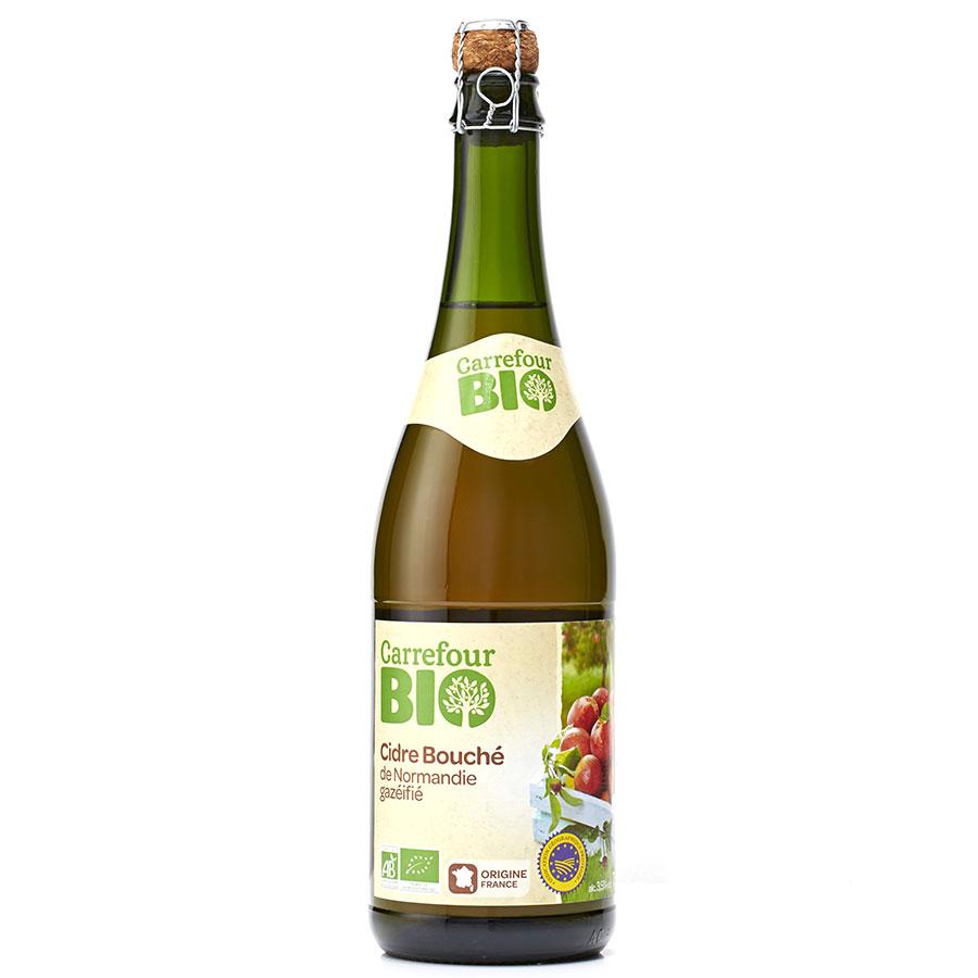 Carrefour bio Cidre bouché de Normandie gazéifié -