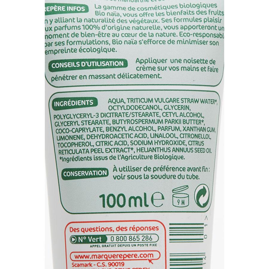 Bio Naïa (Marque Repère) Crème mains peaux sèches et abîmées - Composition