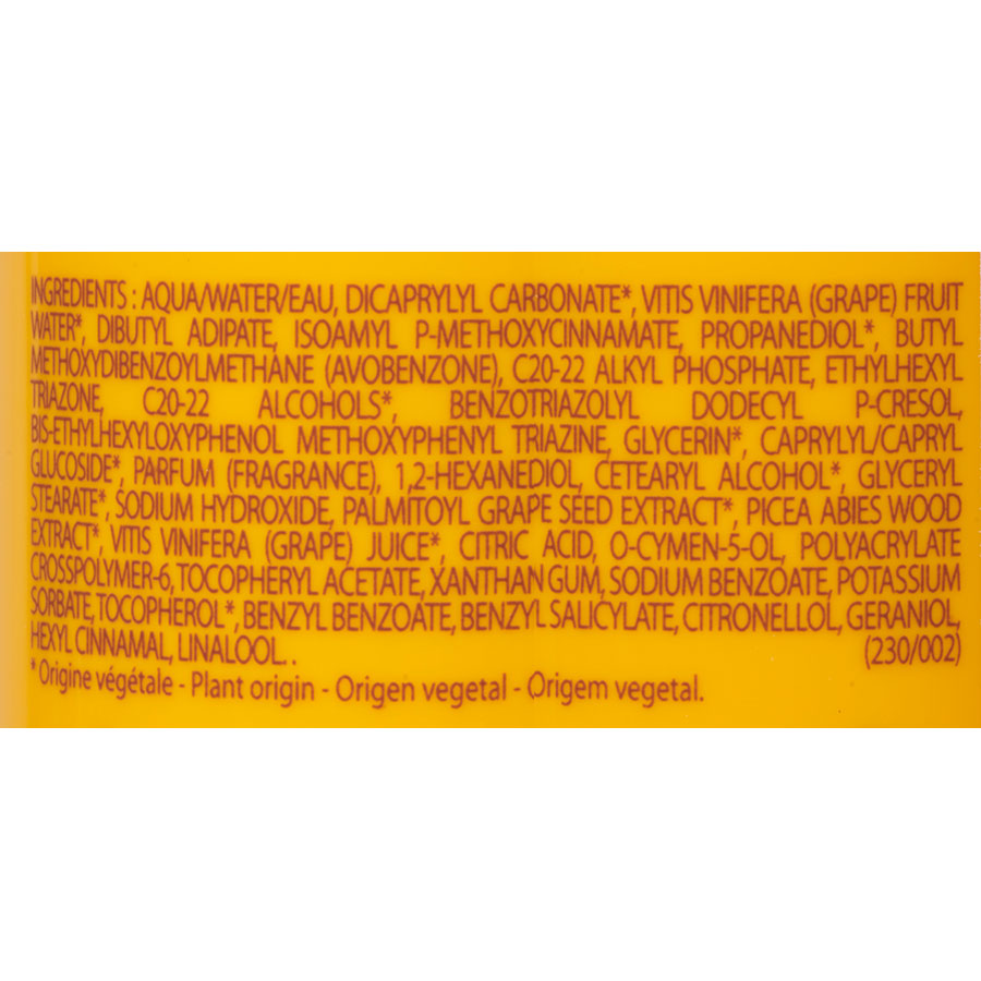 Caudalie Spray solaire lacté – Indice 30 - Liste des ingrédients