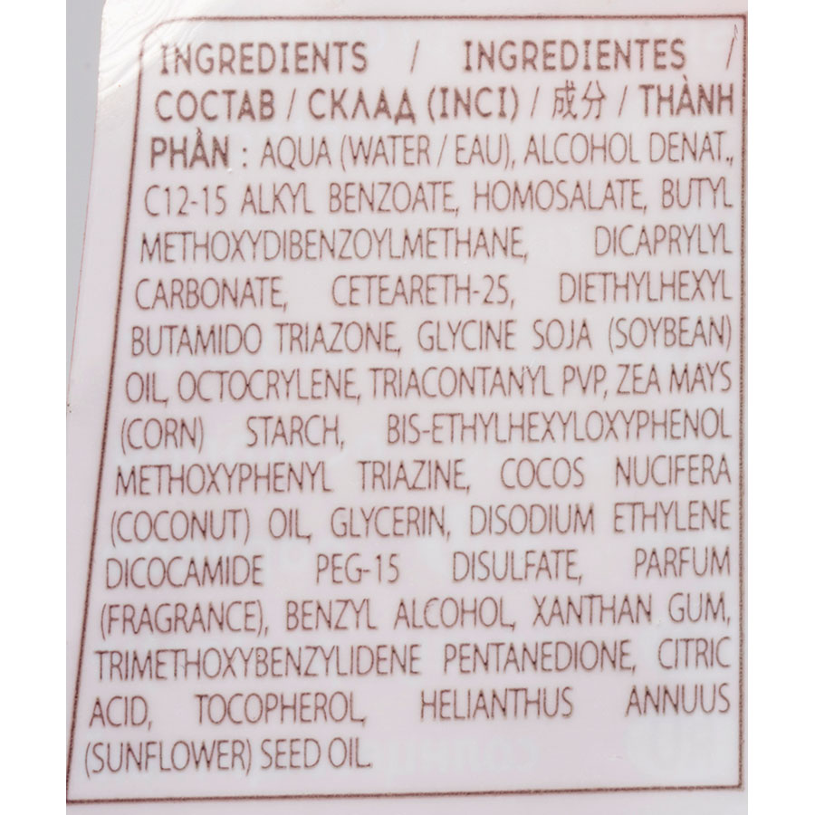 Cosmia Sun Spray protecteur – Indice 30 - Liste des ingrédients