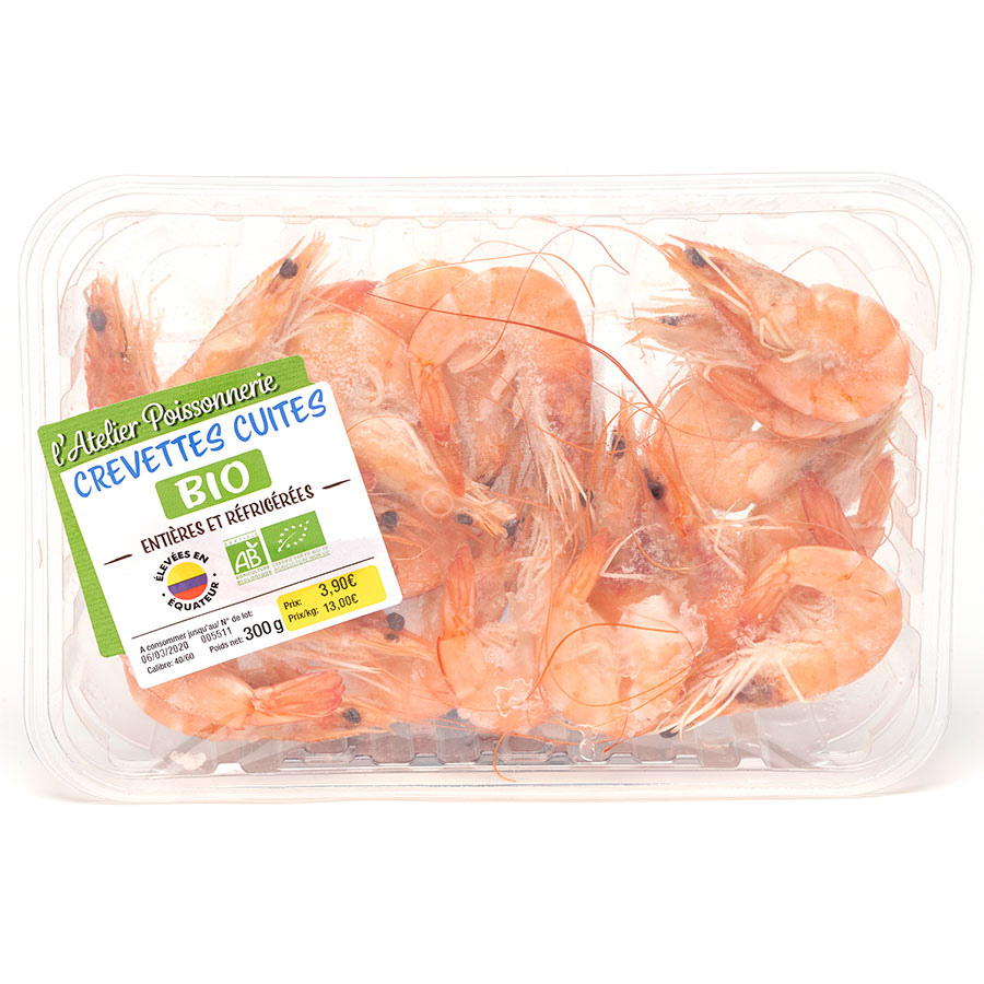 L'atelier Poissonnerie Crevettes cuites bio -
