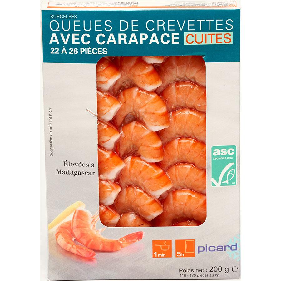 Picard Queues de crevettes avec carapace cuites -