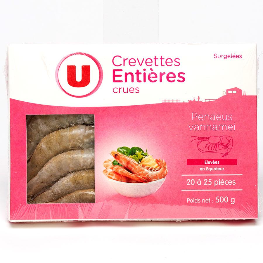U Crevettes entières crues -