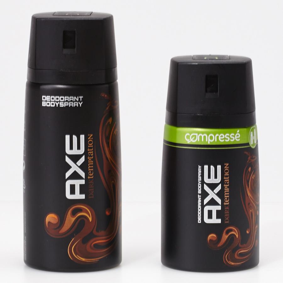 Axe Dark Temptation - Pratique et écologique, la version compressée de 100 ml offre bien la même durée d'utilisation que le format standard de 150 ml.