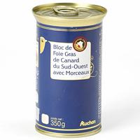 Auchan Bloc de foie gras de canard du Sud-Ouest avec morceaux