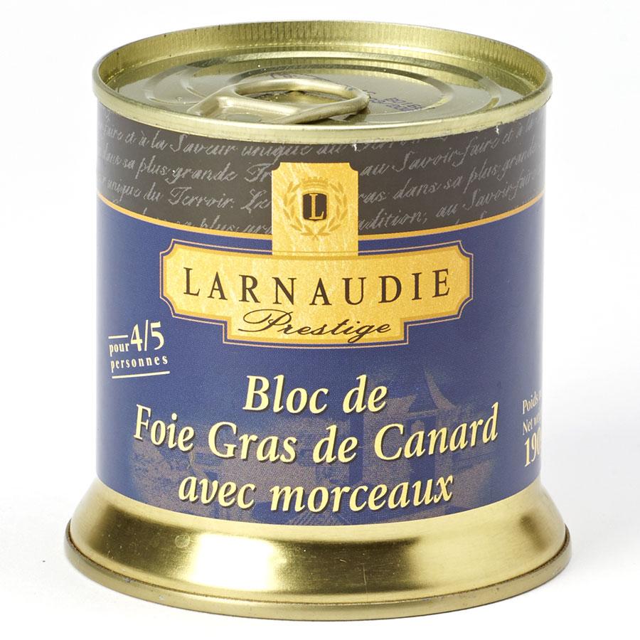 Larnaudie Prestige, bloc de foie gras de canard avec morceaux  -