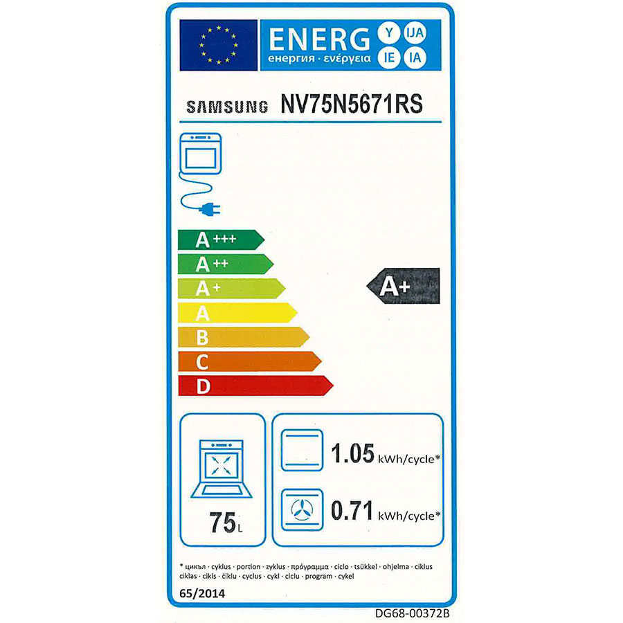 Samsung NV75N5671RS Dual Cook Flex(*41*) - Étiquette énergie
