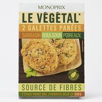 Monoprix Le végétal Galettes panées sarrasin boulgour poireaux