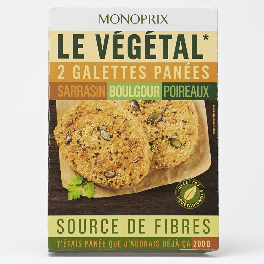 Monoprix Le végétal Galettes panées sarrasin boulgour poireaux -