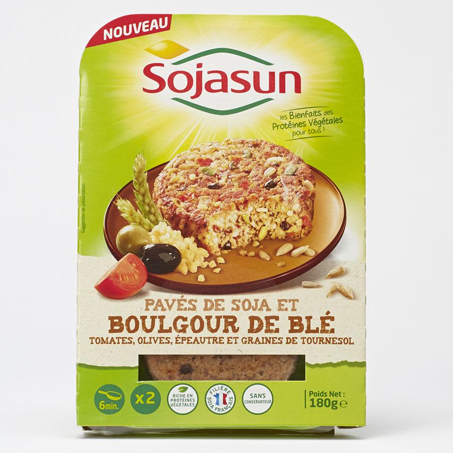 Sojasun Pavés de soja et boulgour de blé, tomates, olives, épeautre, graines de tournesol -