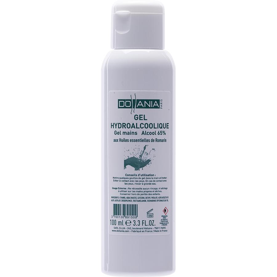 Dollania Gel hydroalcoolique gel mains alcool 65% aux huiles essentielles de romarin -