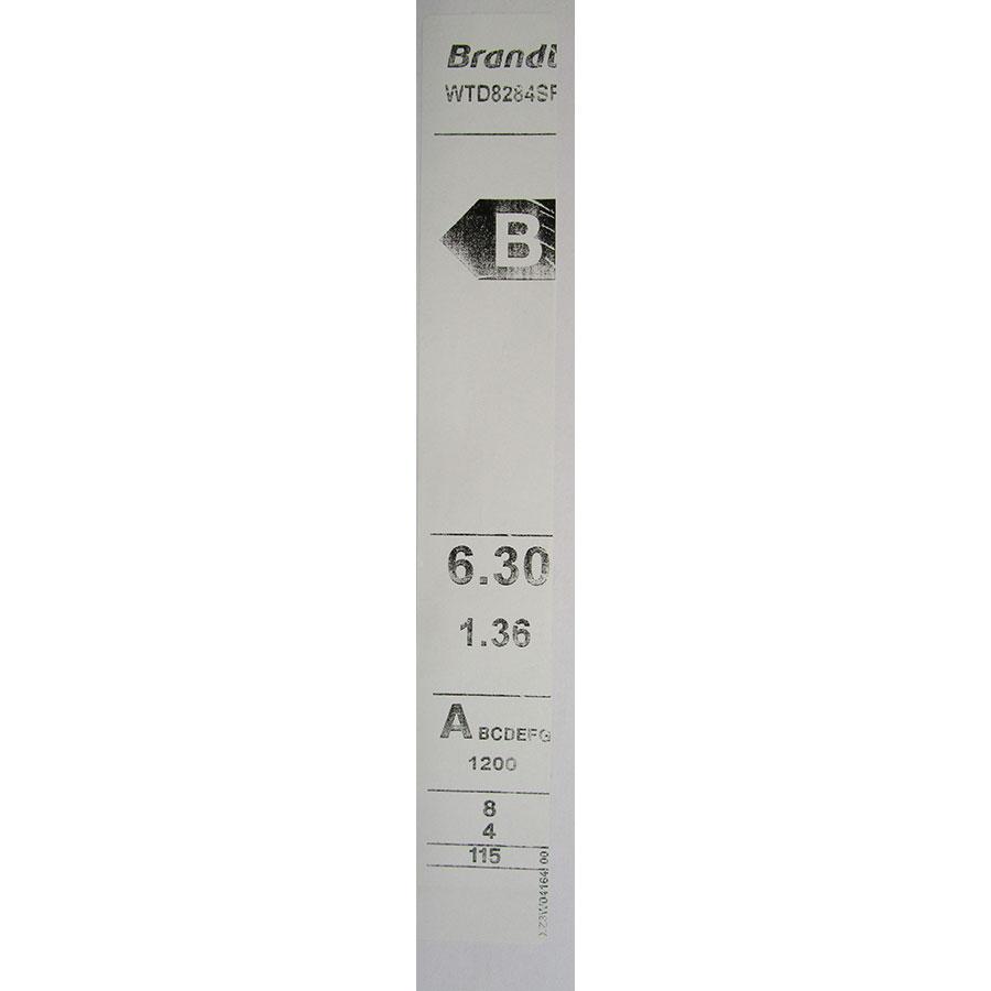 Brandt WTD8284SF - Étiquette énergie