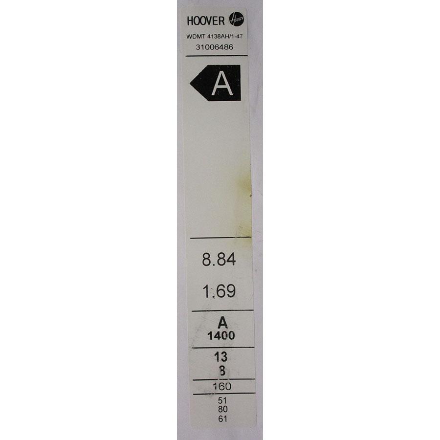 Hoover WDMT4138AH/1(*17*) - Étiquette énergie