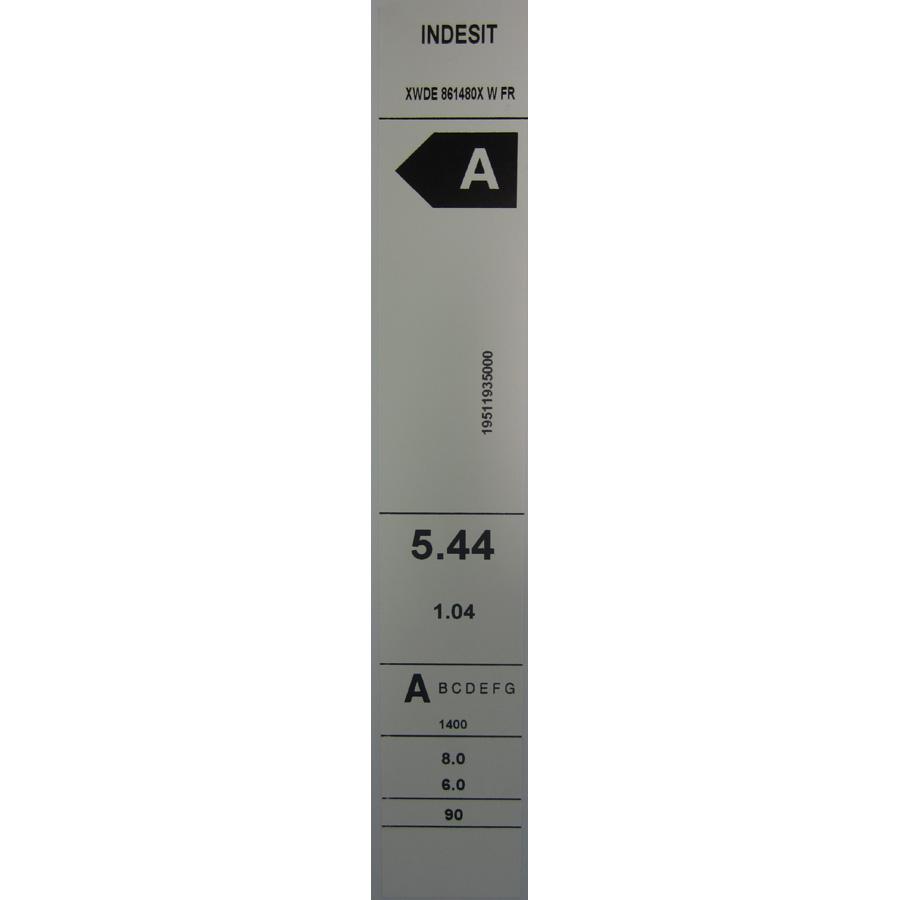 Indesit XWDE861480XW(*5*)(*17*) - Etiquette énergie.