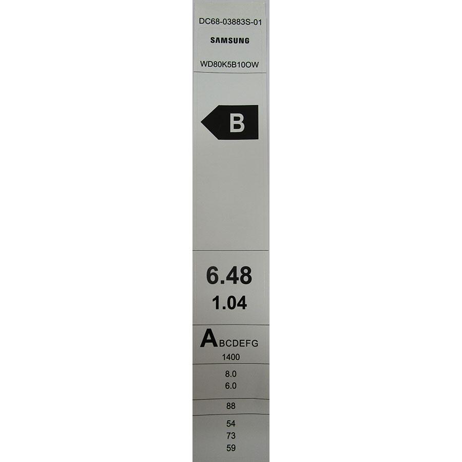 Samsung WD80K5B10OW - Étiquette énergie
