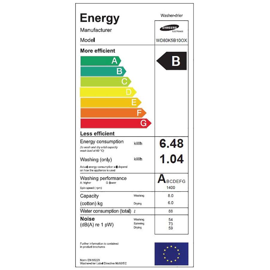Samsung WD80K5B10OX - Étiquette énergie