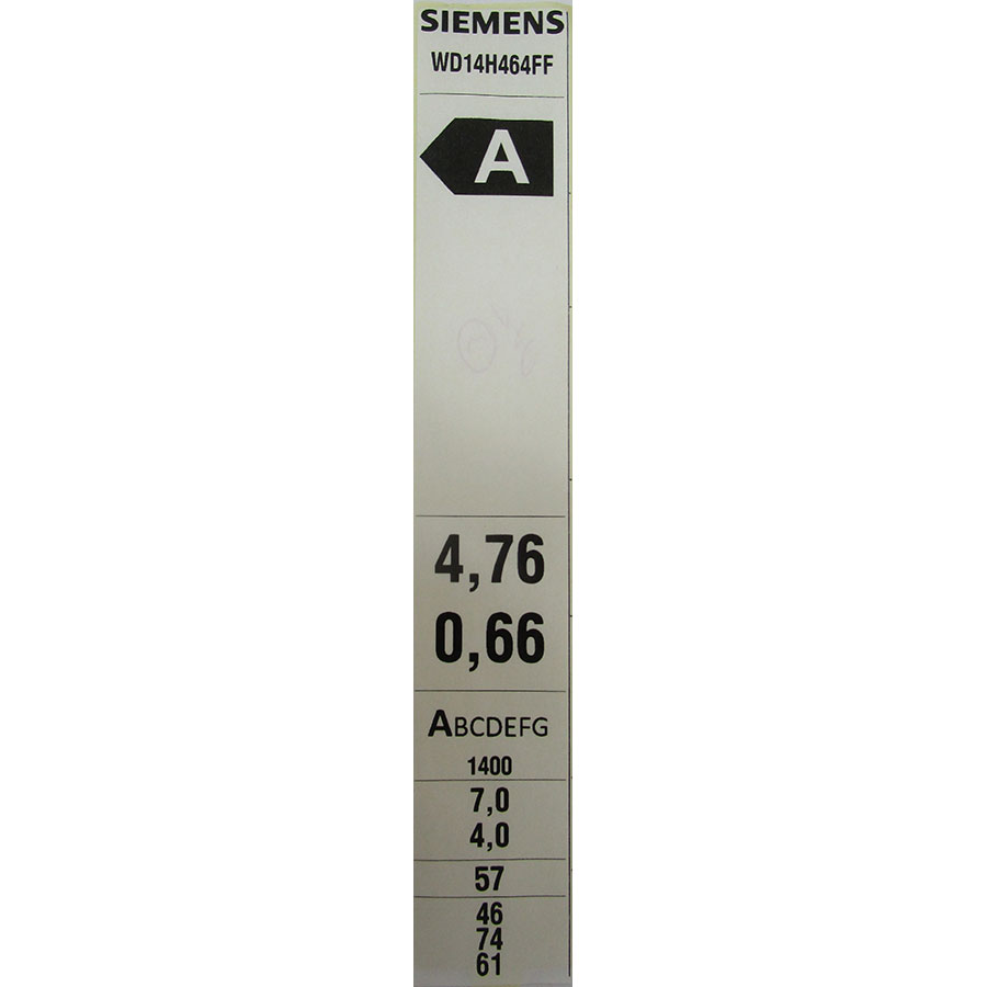 Siemens WD14H464FF - Étiquette énergie
