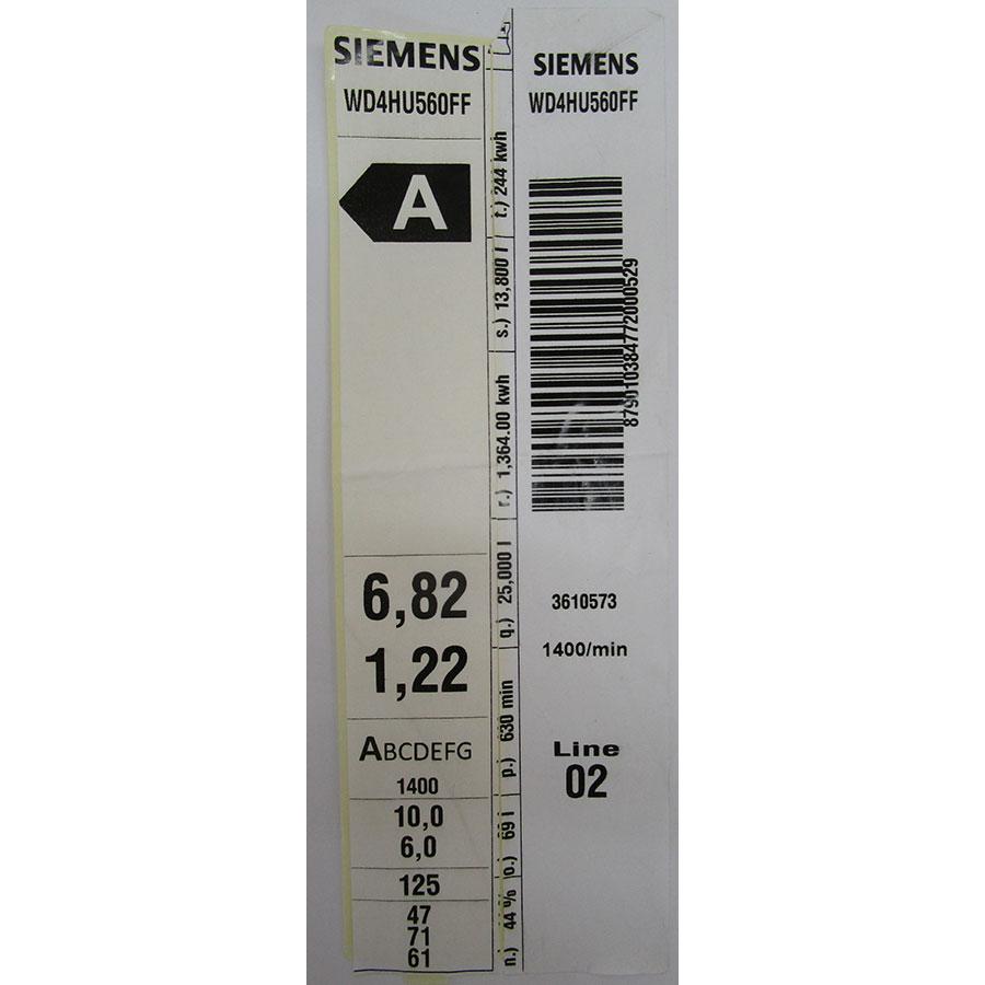 Siemens WD4HU560FF - Étiquette énergie