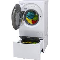 LG F94G1GWHS - Vue porte ouverte avec le lave-linge TwinWash mini, proposé en option