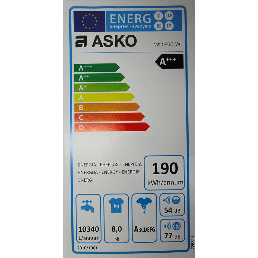 Asko W2086C.W - Étiquette énergie