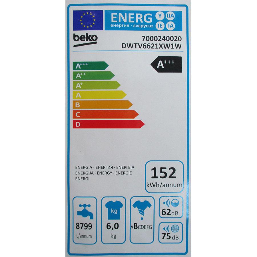 Beko DWTV6621XW1W - Étiquette énergie