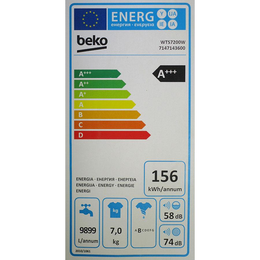 Beko WTS7200W - Étiquette énergie