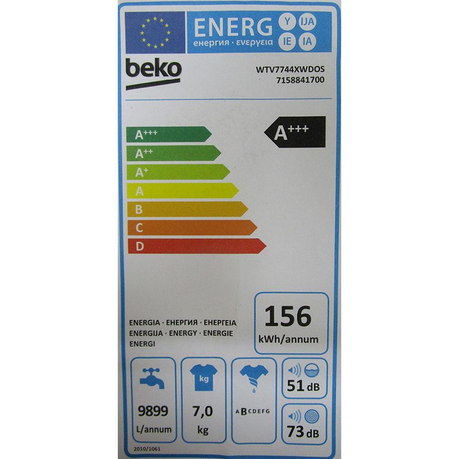 Beko WTV7744XWDOS - Étiquette énergie