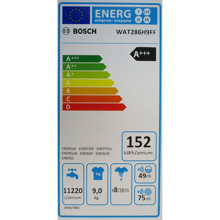 Bosch I-Dos WAT286H9FF - Étiquette énergie