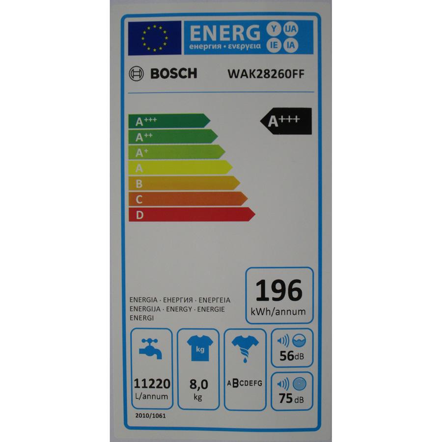Bosch WAK28260FF Série 4 (*15*) - Étiquette énergie