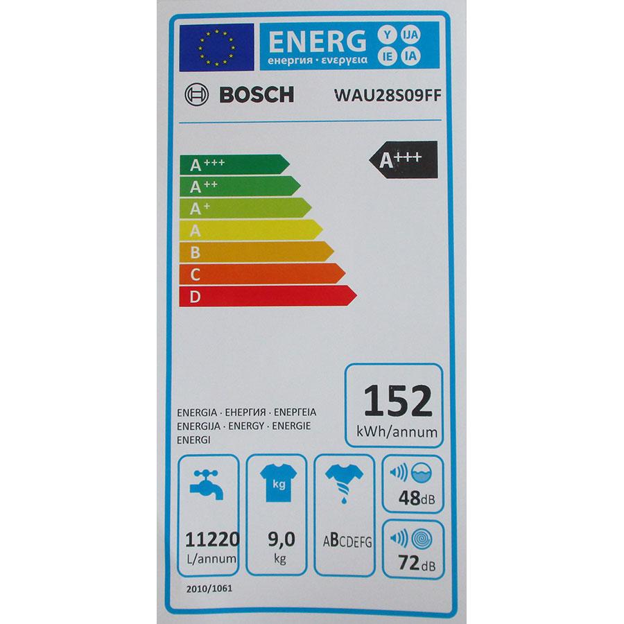 Bosch WAU28S09FF I-Dos - Étiquette énergie