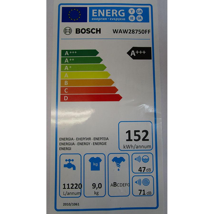 Bosch WAW28750FF ActiveOxygen Série 8 - Étiquette énergie