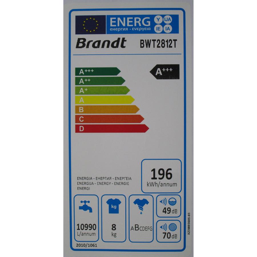 Brandt BWT2812T Silence 8Kg - Étiquette énergie