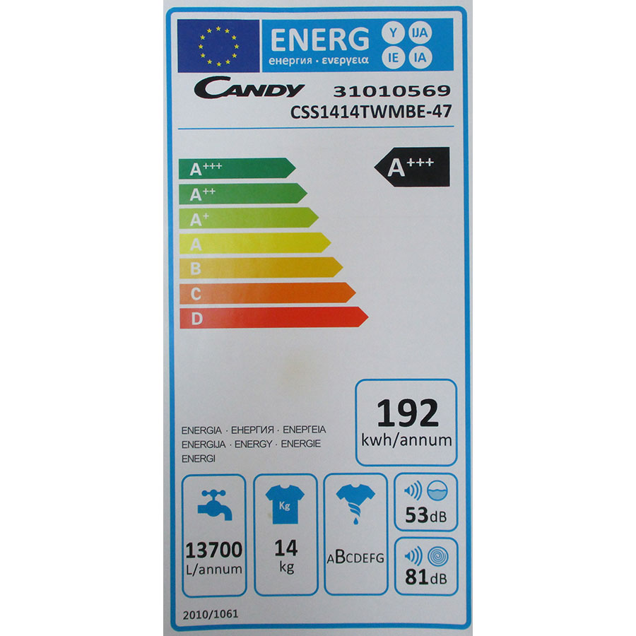 Candy CSS1414TWMBE - Étiquette énergie