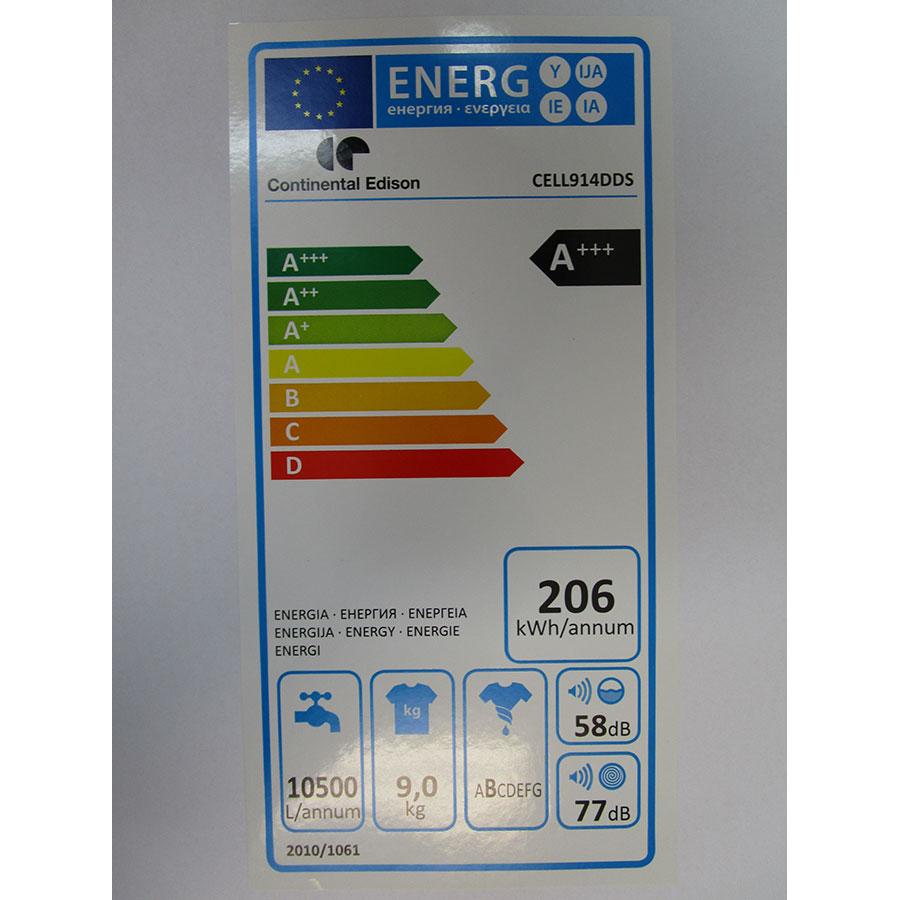 Continental Edison (Cdiscount) CELL914DDS - Étiquette énergie