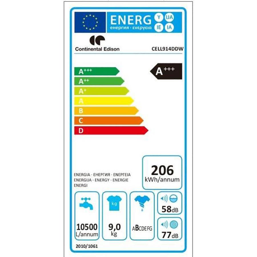 Continental Edison (Cdiscount) CELL914DDW - Étiquette énergie