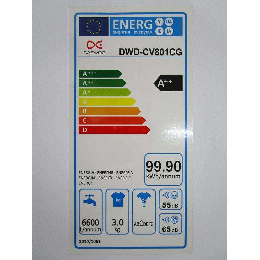 Daewoo DWD-CV801CG MINI 3 KG - Étiquette énergie