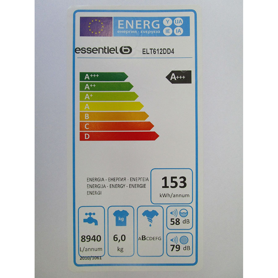 EssentielB (Boulanger) ELT612DD4 - Étiquette énergie