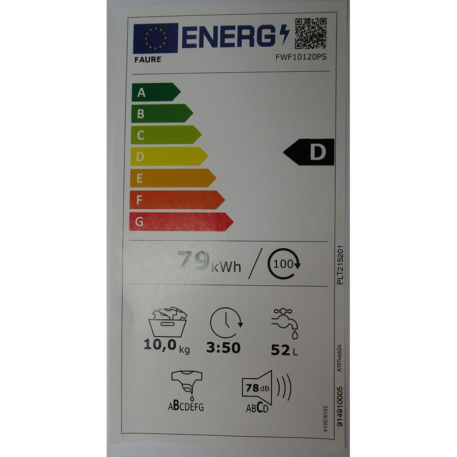 Faure FWF10120PS - Nouvelle étiquette énergie