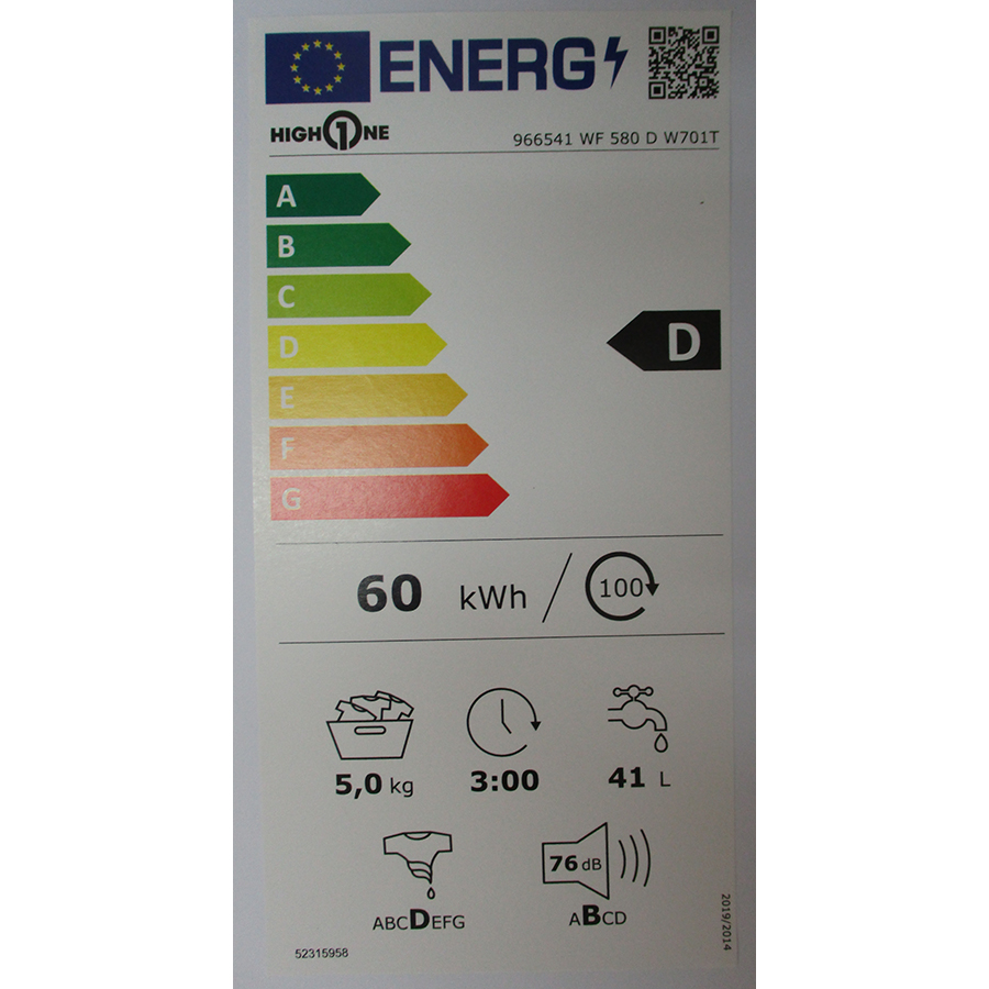 High One WF 580 D W701T - Nouvelle étiquette énergie