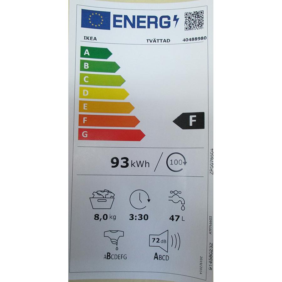 Ikea Tvättad 404.889.80 - Nouvelle étiquette énergie