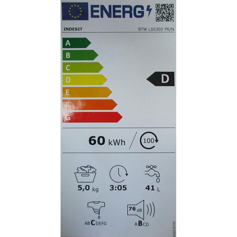 Indesit BTWL50300FR/N - Nouvelle étiquette énergie