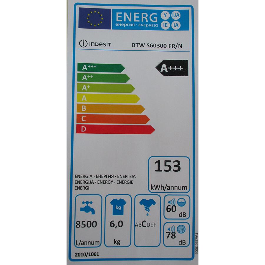 Indesit BTWS60300FR/N - Étiquette énergie