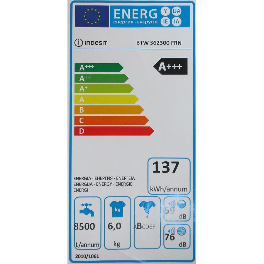 Indesit BTWS62300FRN - Étiquette énergie