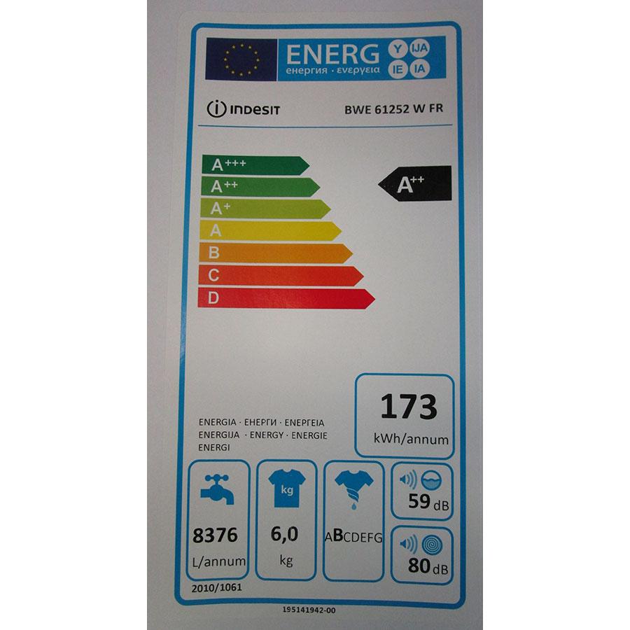 Indesit BWE61252W FR - Étiquette énergie