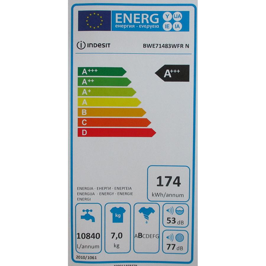Indesit BWE71483WFRN - Étiquette énergie