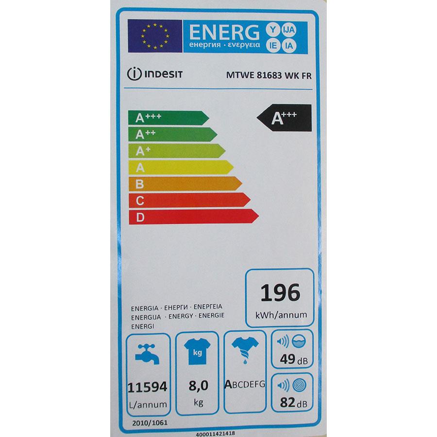 Indesit MTWE81683WKFR - Étiquette énergie