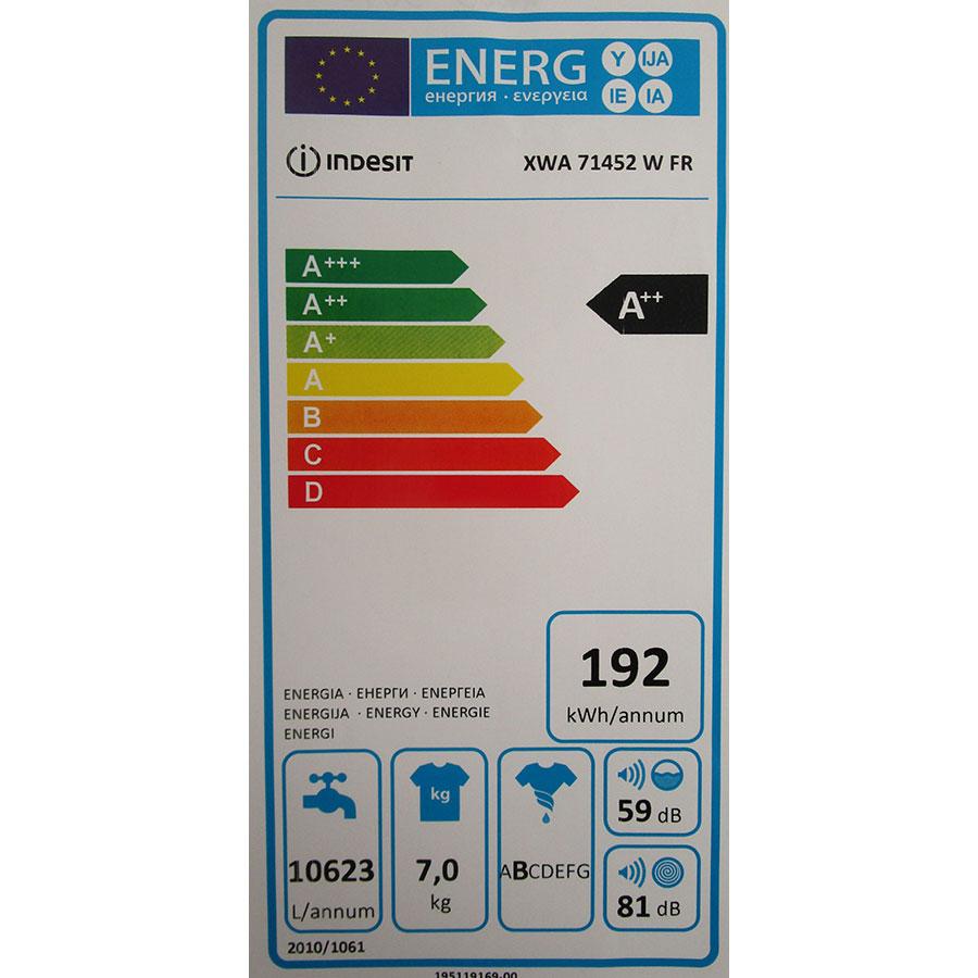 Indesit XWA71452WFR - Étiquette énergie