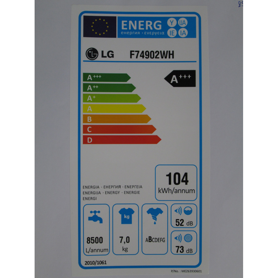 LG F74902WH - Étiquette énergie