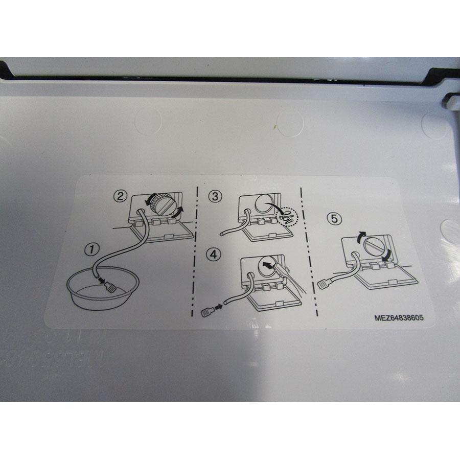 LG F74G62WH - Autocollant des préconisations d'entretien (dans trappe vidange)