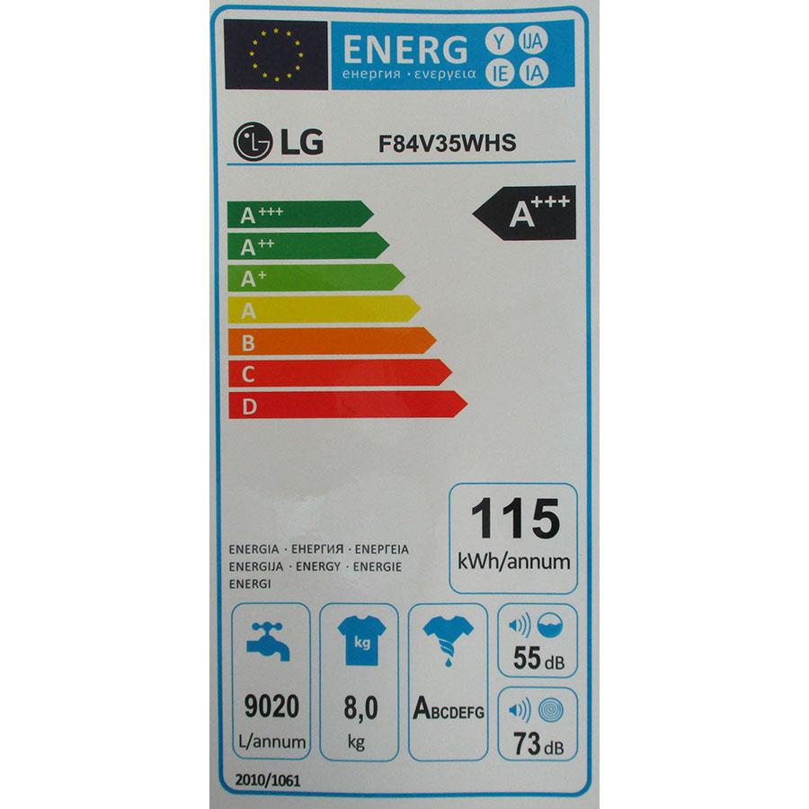 LG F84V35WHS - Étiquette énergie